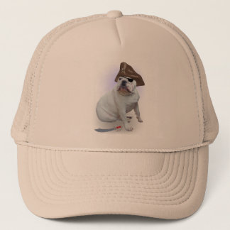 Bulldog pirate trucker hat