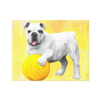 Bulldog Playing with Ball Watercolor Art Painting Canvas Print