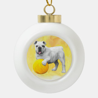 Bulldog Playing with Ball Watercolor Art Painting Ceramic Ball Christmas Ornament