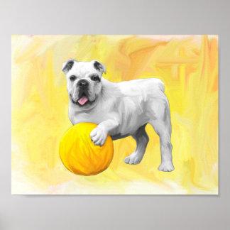 Bulldog Playing with Ball Watercolor Art Painting Poster