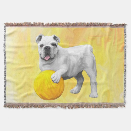 Bulldog Playing with Ball Watercolor Art Painting Throw Blanket