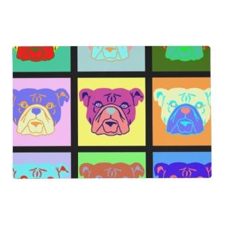 Bulldog Pop Art Placemat at Zazzle