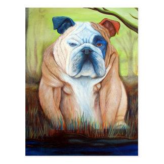 Bulldog Portrait Art Postcard