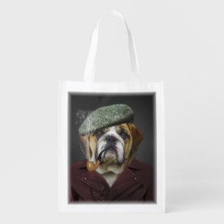 Bulldog portrait smoking a pipe grocery bag