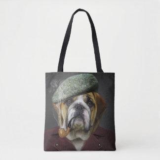 Bulldog portrait smoking a pipe tote bag
