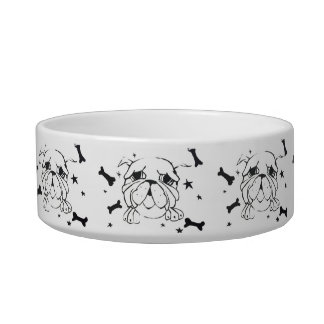 Bulldog Print Dog Bowl