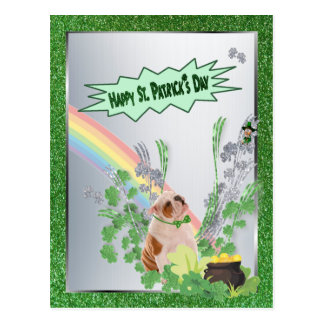 Bulldog Pup Number 1 Happy St Patty Small Version Postcards