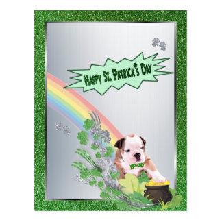 Bulldog Pup Number 2 Happy St Patty Small Version Postcard