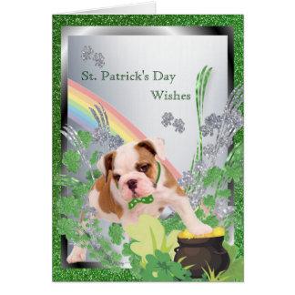 Bulldog Pup Three Spiritual St Pattys Day Message Greeting Card