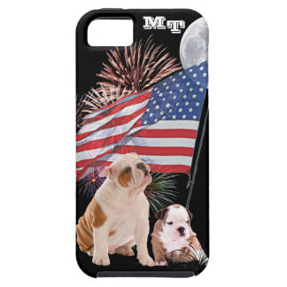 Bulldog Puppies Awesome Patriotic iPhone 5 Case