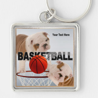 Bulldog Puppies Basketball Design Square Keychain