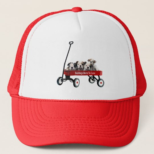 Bulldog Puppies In Wagon Hat