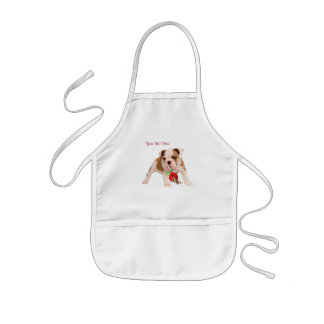 Bulldog Puppy and Christmas Candy Cane Snow Scene Kids' Apron