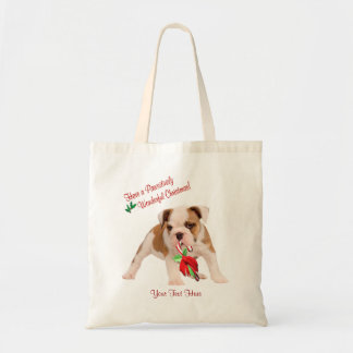 Bulldog Puppy and Christmas Candy Cane Snow Scene Tote Bag