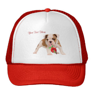 Bulldog Puppy and Christmas Candy Cane Snow Scene Trucker Hat