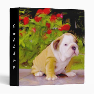 Bulldog puppy art binder