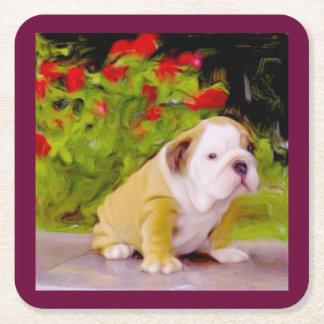 Bulldog Puppy Art Square Paper Coaster