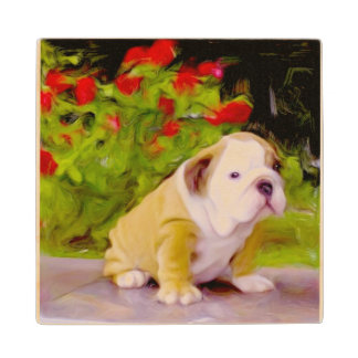 Bulldog Puppy Art Wood Coaster