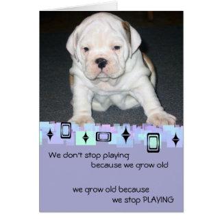 Bulldog Puppy Birthday Greetings Card