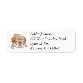 Bulldog Puppy Dog Return Address Name Label