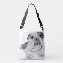 Bulldog Puppy Drawing Sketch Tote Crossbody Bag