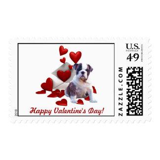 Bulldog Puppy Happy Valentine's Day Postage