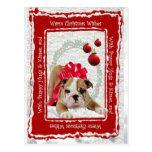 Bulldog Puppy Hugs & Kisses and Christmas Wishes Post Card
