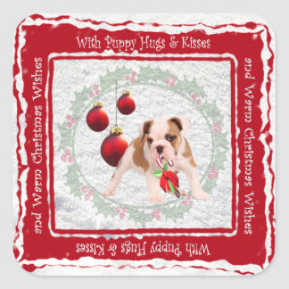 Bulldog Puppy Hugs & Kisses and Christmas Wishes Square Sticker