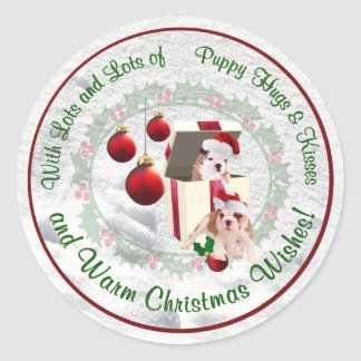 Bulldog Puppy Hugs & Kisses and Christmas Wishes Sticker