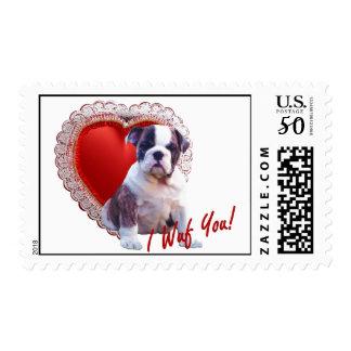 Bulldog Puppy I Wuf You Valentine Postage