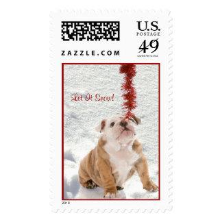 Bulldog Puppy Let It Snow #2 Postage Stamp