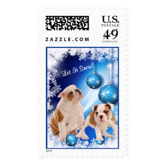 Bulldog Puppy Let It Snow Postage Stamp