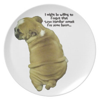 Bulldog Puppy Love Handles and Bacon Dinner Plates