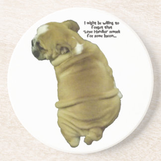 Bulldog Puppy Love Handles and Bacon Sandstone Coaster