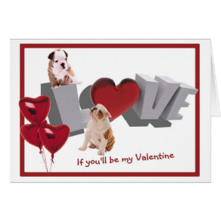 Bulldog Puppy Love Valentine's Day Card