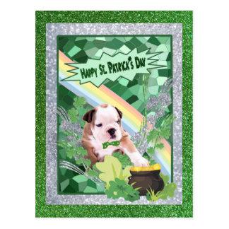 Bulldog Puppy Number 2 Happy St. Patricks Day Postcard