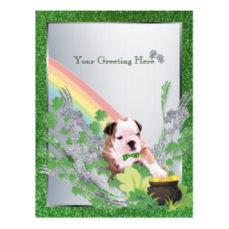 Bulldog Puppy Number Two St Pattys Customize It Postcard