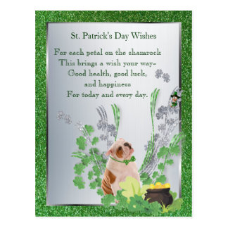 Bulldog Puppy One Health Luck Happiness Wishes Postcard