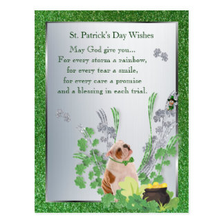 Bulldog Puppy One St Pattys Day Spiritual Message Postcard