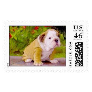 Bulldog puppy postage stamps