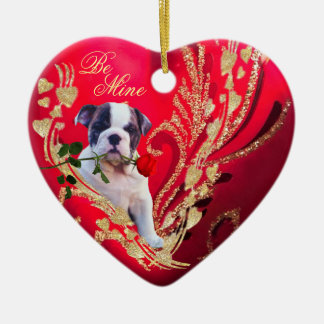 Bulldog Puppy Red Heart and Rose Second Design Ceramic Ornament