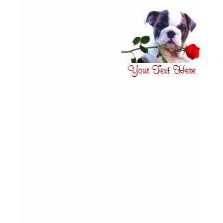 Bulldog Puppy Red Rose Valentine Design shirt