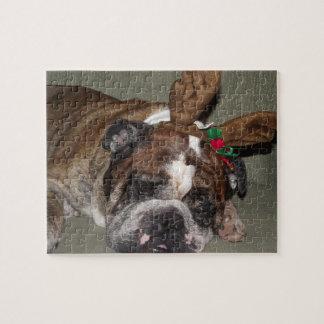 Bulldog puppy reindeer jigsaw puzzle
