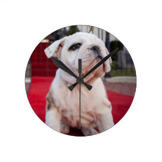 Bulldog Puppy Round Clock