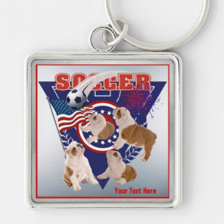 Bulldog Puppy US Flag Soccer Design – Customize It Silver-Colored Square Keychain