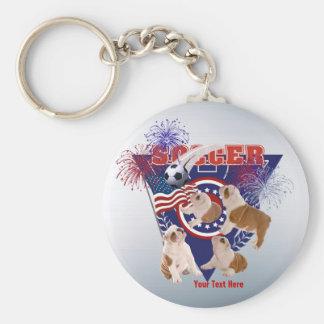 Bulldog Puppy US Flag USA Soccer - Customize It Basic Round Button Keychain