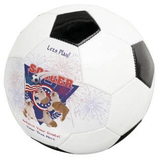 Bulldog Puppy USA Flag Design Soccer Ball