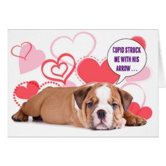 Bulldog Puppy Valentine's Card