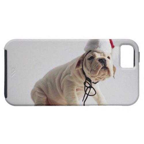 Bulldog Puppy Wearing Santa Hat iPhone SE55s Case
