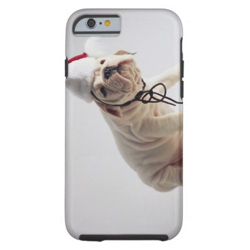 Bulldog Puppy Wearing Santa Hat Tough iPhone 6 Case